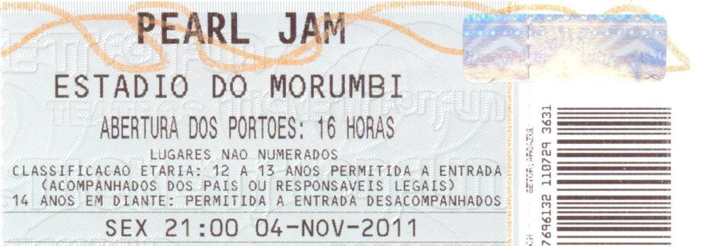 Pearl Jam, Morumbi, São Paulo, 04/11/2011. Aula de rock! (3/6)