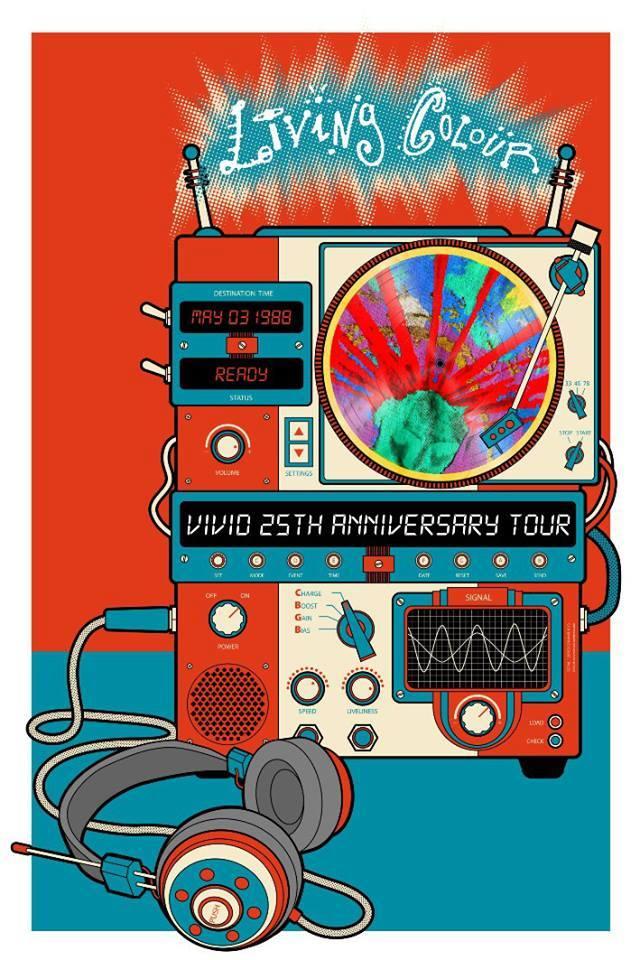 """Poster criado por Mario Prado para a turnê de 25 anos do discão """"Vivid"""" : https://www.facebook.com/LivingColour"""