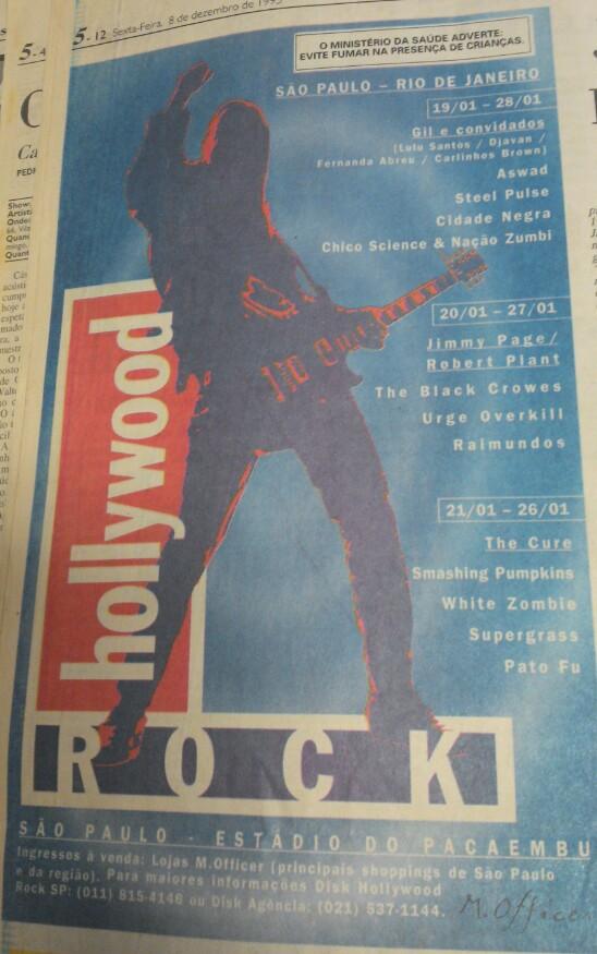 Memorabilia. Anúncio de página inteira num jornalão do Holly Rock 96, a primeira das quatro passagens da banda pelo Brasil.